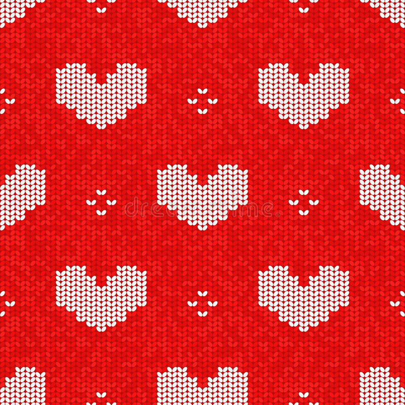 Vector knitted seamless pattern, Valentine's Day style knitting vector illustration