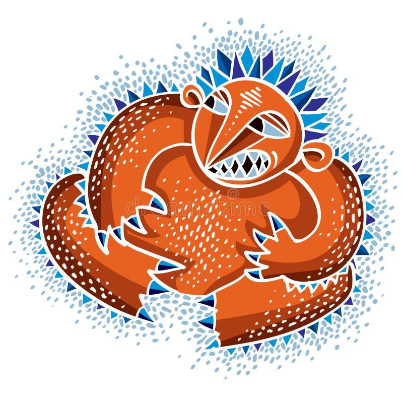 Vector koel beeldverhaal boos monster, eenvoudig bizar schepsel Clipar stock illustratie