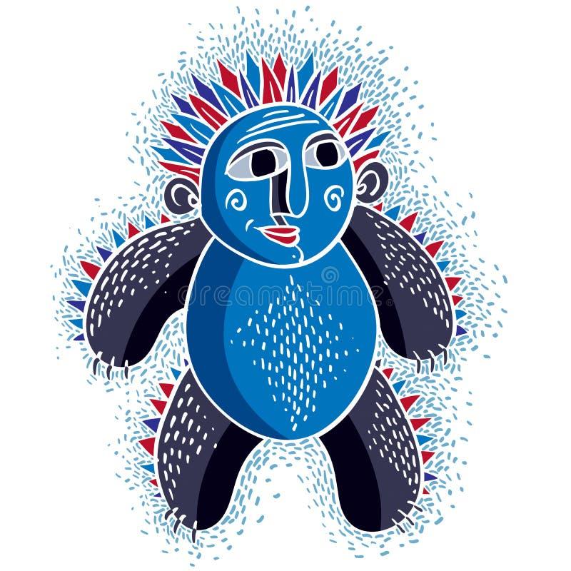 Vector koel beeldverhaal grappig monster, eenvoudig bizar schepsel Clipar royalty-vrije illustratie