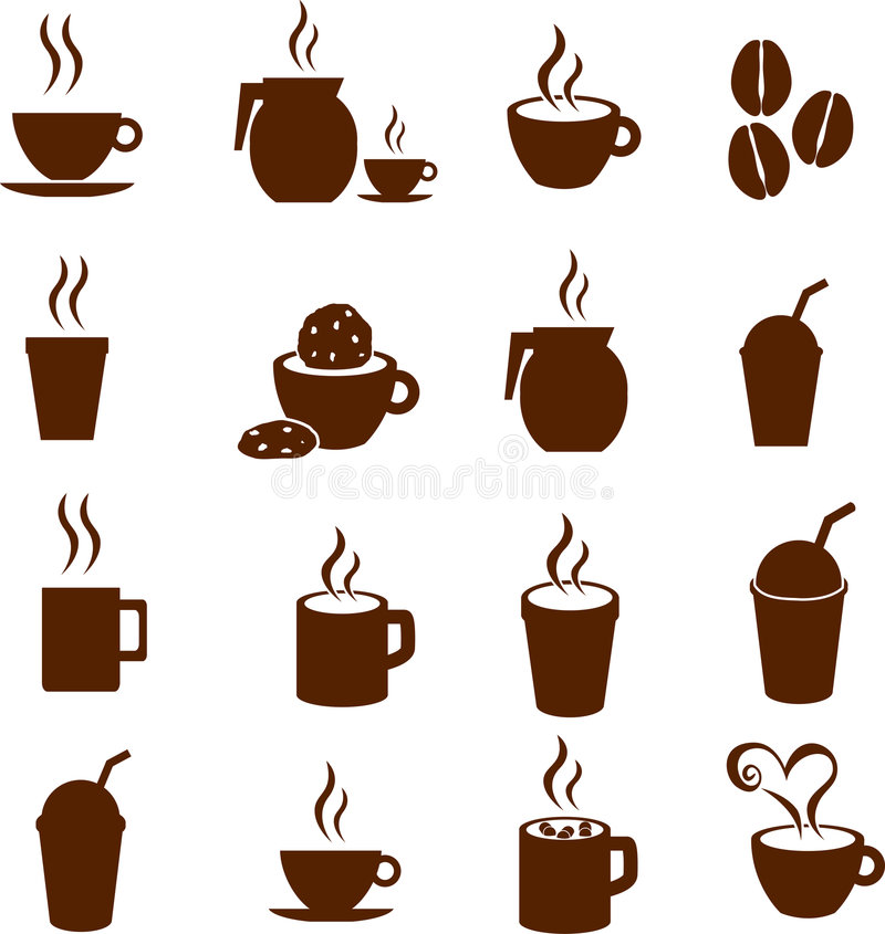 Vector koffiechocolade en hete drankendranken royalty-vrije stock fotografie