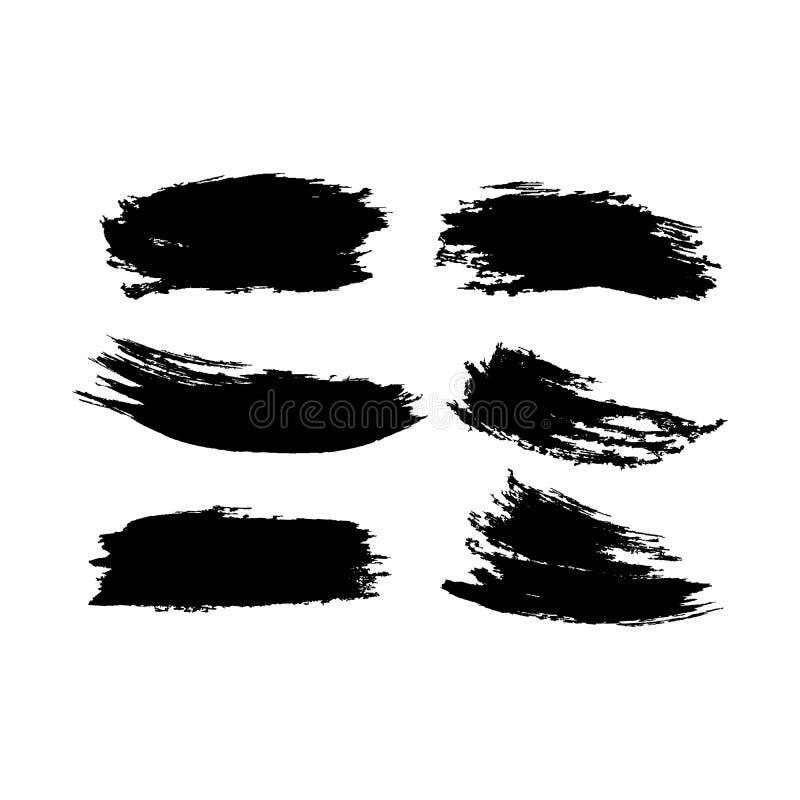 Vector Kollektion von künstlerisch grungy schwarzen Farbe handgefertigte kreative Pinselstrich auf weißem Hintergrund isoliert Ei lizenzfreie abbildung
