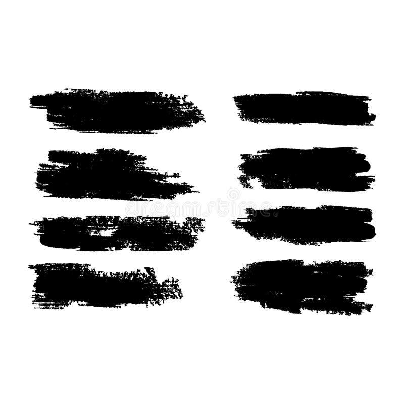 Vector Kollektion von künstlerisch grungy schwarzen Farbe handgefertigte kreative Pinselstrich auf weißem Hintergrund isoliert Ei stock abbildung