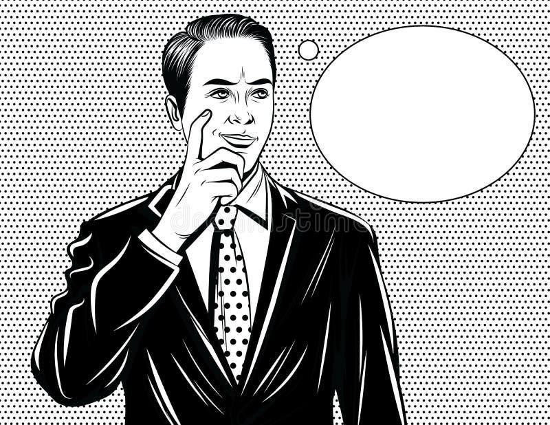Vector komische Artschwarzweiss-illustration eines Managerdenkens vektor abbildung