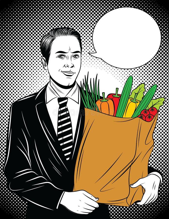 Vector komische Pop-Arten-Artillustration eines jungen Geschäftsmannes mit voller Papiertüte Frischgemüse vektor abbildung