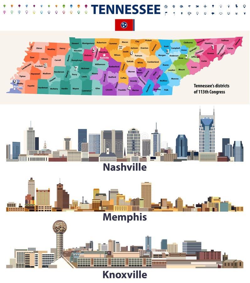 Vector Kongressbezirke aufzeichnen und major abstrakte Skyline der Städte von Tennessee-Staat lizenzfreie abbildung
