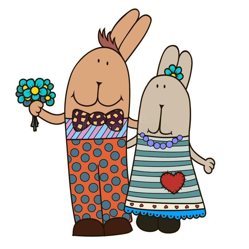 Vector konijn-meisje en konijn-jongen Hand getrokken illustratie royalty-vrije illustratie