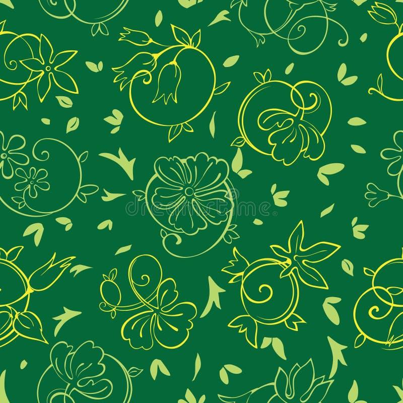 Vector Koninklijk Gouden Groen Bloemen Naadloos Patroon stock illustratie