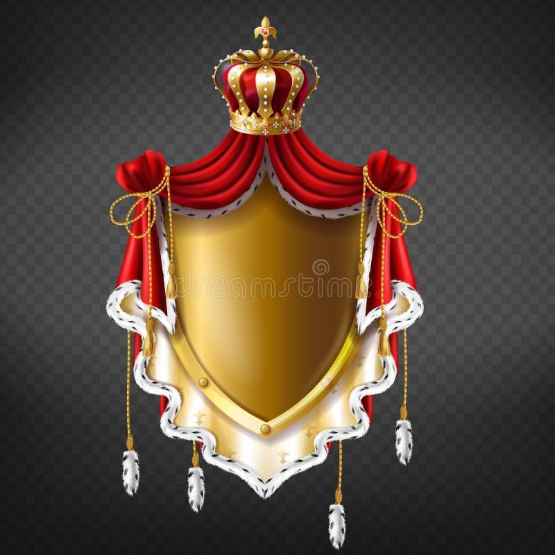 Vector koninklijk wapenschild - kroon, schild stock illustratie