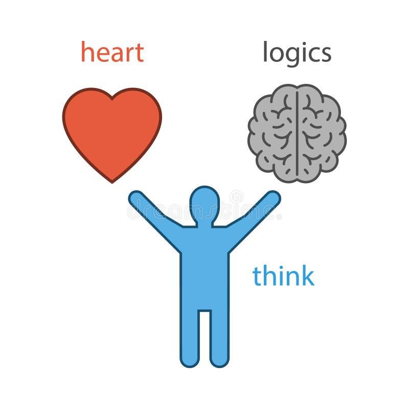 Vector Konzept des Herzens oder die Logik der Wahl vektor abbildung