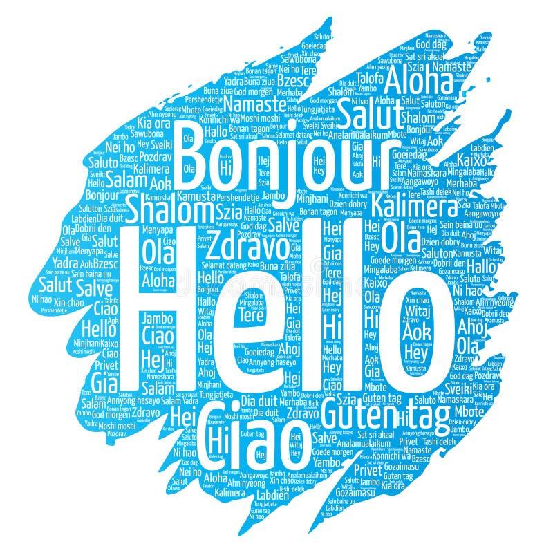 Vector Konzept oder Begriffsbürste oder malen Sie hallo oder, internationale Tourismuswortwolke in den verschiedenen Sprachen grü stock abbildung