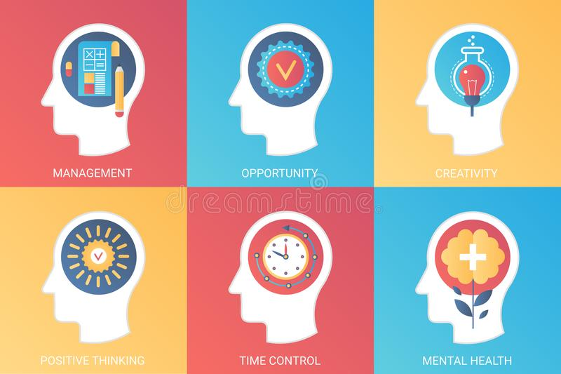 Vector Konzeptmanagement, Gelegenheit, Kreativität, positives Denken, Zeitsteuerung, psychische Gesundheit Moderne Steigung flach vektor abbildung