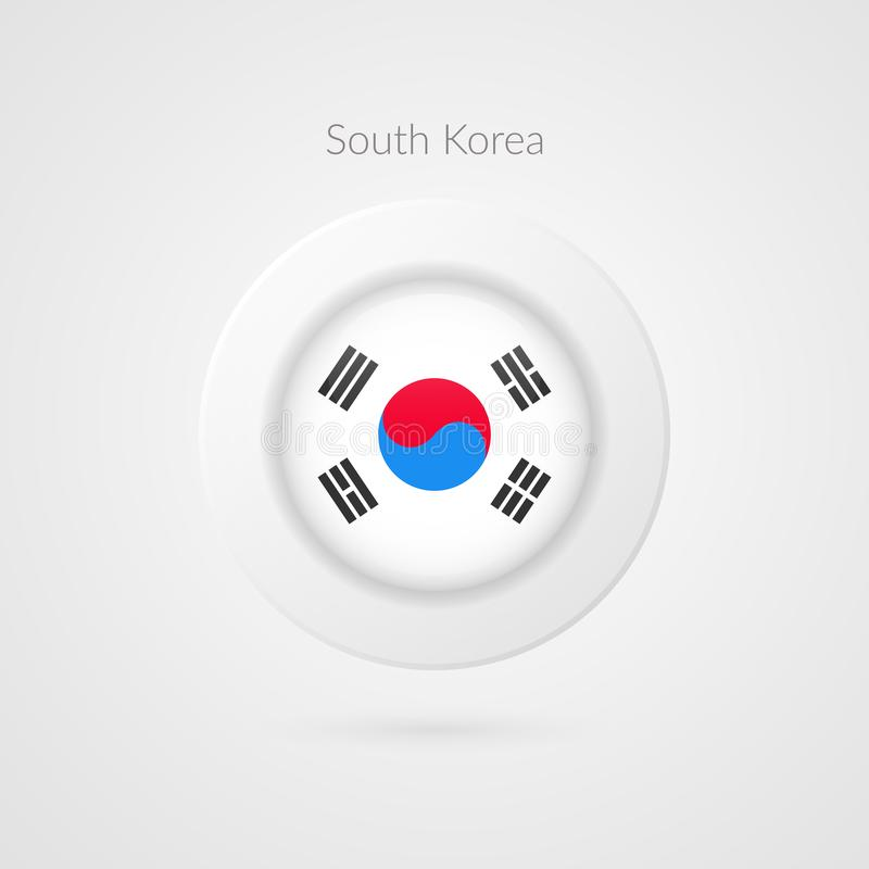 Vector Korean flag sign. Isolated South Korea circle symbol. Asian country illustration icon for presentation, project, travel. Vector Korean flag sign. Isolated stock illustration