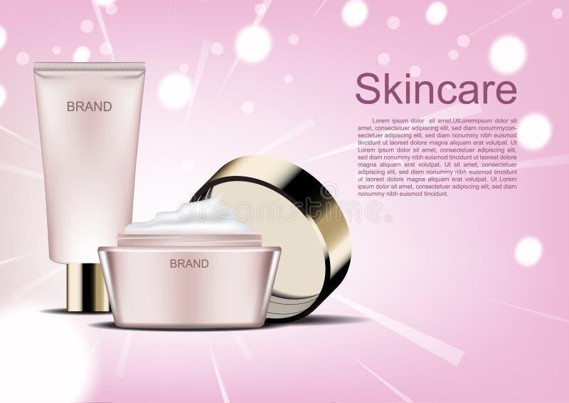 Vector kosmetische Anzeigen, das skincare, das auf rosa abstrakten Hintergrund eingestellt wird vektor abbildung