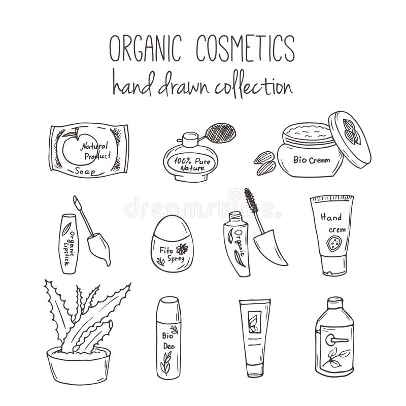 Vector kosmetische flessen Organische schoonheidsmiddelenillustratie De zorgpunten van de krabbelhuid Kruidenhand getrokken reeks vector illustratie