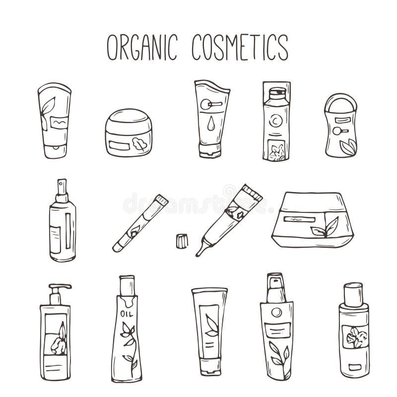 Vector kosmetische flessen Organische schoonheidsmiddelenillustratie De zorgpunten van de krabbelhuid Kruidenhand getrokken reeks royalty-vrije illustratie