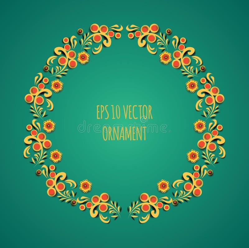Vector Kranzillustration der traditionellen russischen alten Volksmit Blumenverzierung, die khokhloma auf grünem Hintergrund gena stock abbildung