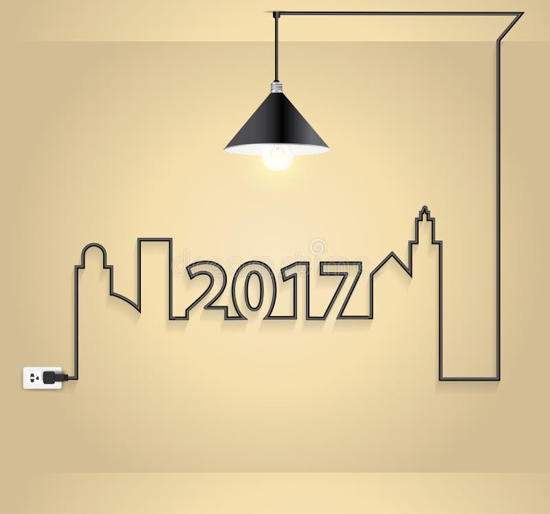 Vector kreative Glühlampeidee des neuen Jahres 2017 im Wandraum stock abbildung