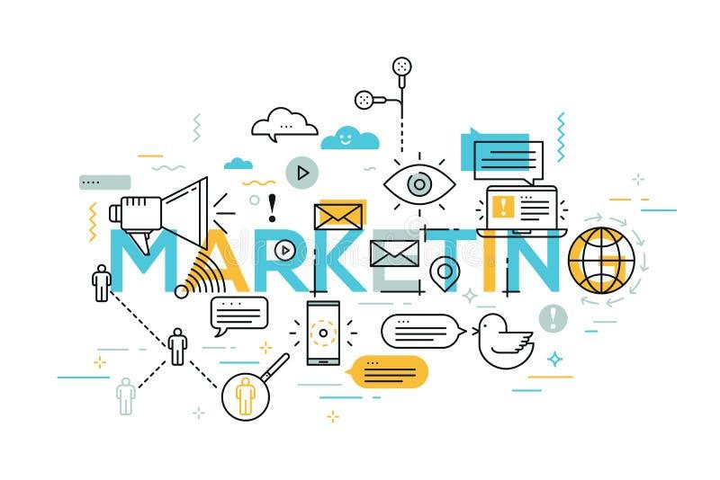 Vector kreative Illustration der Marketing-Wortbeschriftungstypographie mit Linie Ikonen stock abbildung