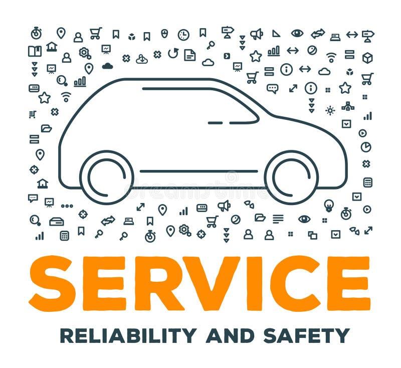 Vector kreative Illustration des großen Autos mit Satz der Linie Ikonen a lizenzfreie abbildung