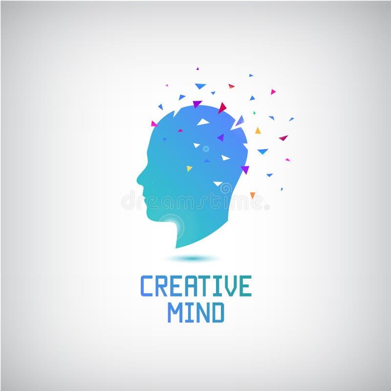 Vector kreatives Sinneslogo, Hauptschattenbild mit Gedanken und das Ideenerlöschen lizenzfreie abbildung