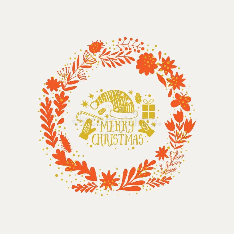 Vector Kreisblumenkränze mit Grüßen der frohen Weihnachten Handdrawn Skizze des Vektors des Kranzes mit Blumen DES der frohen Wei stock abbildung