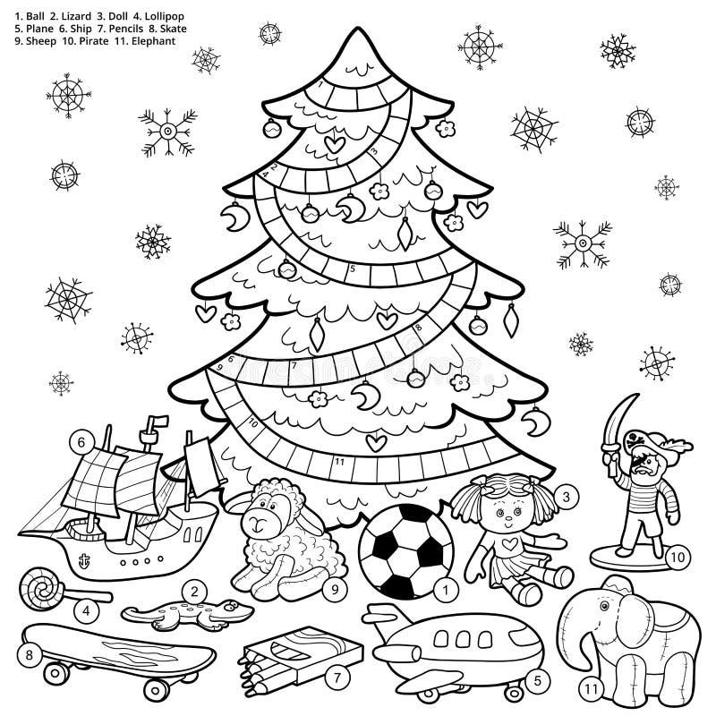 Vector Kreuzworträtsel, Bildungsspiel für Kinder über Weihnachten lizenzfreie abbildung