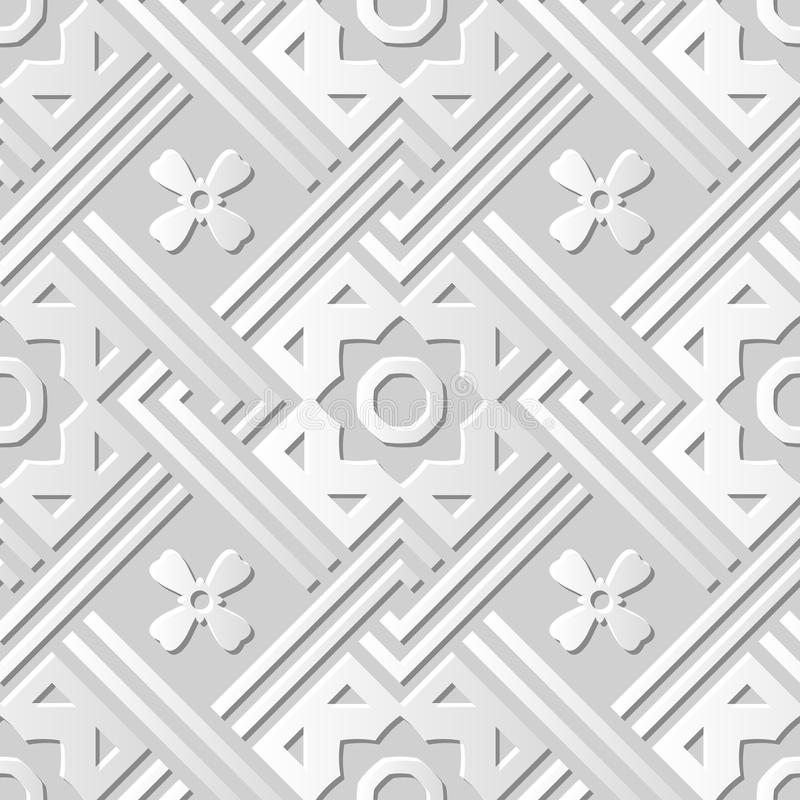 Vector Kunstmuster-Hintergrund 067 des Papiers 3D des Damastes nahtlose quadratische Querlinie Blume stock abbildung