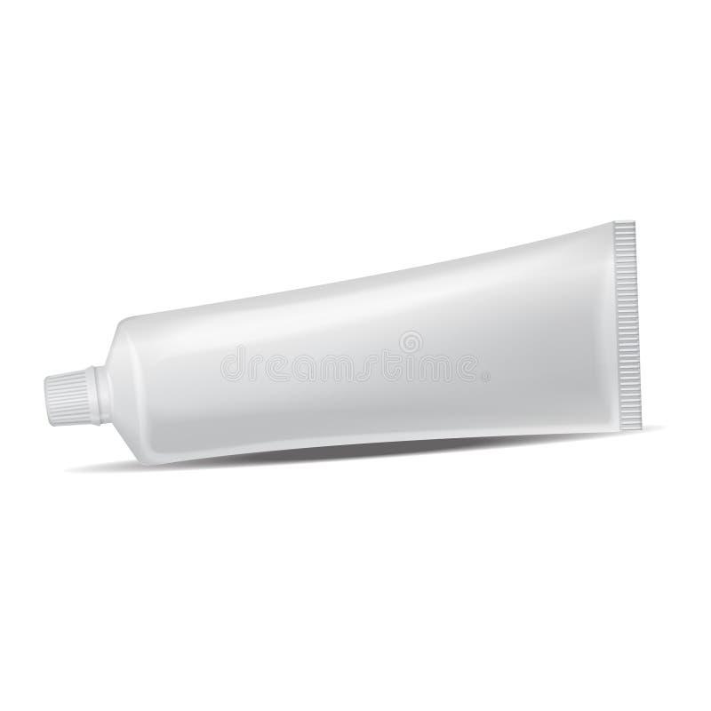 Vector Kunststoffrohr für Medizin oder Kosmetik - Zahnpasta, Creme, Gel, Hautpflege Verpackungsmodellschablone vektor abbildung