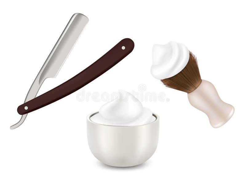 Vector a lâmina do barbeiro, a escova de rapagem e a caneca com espuma ilustração royalty free