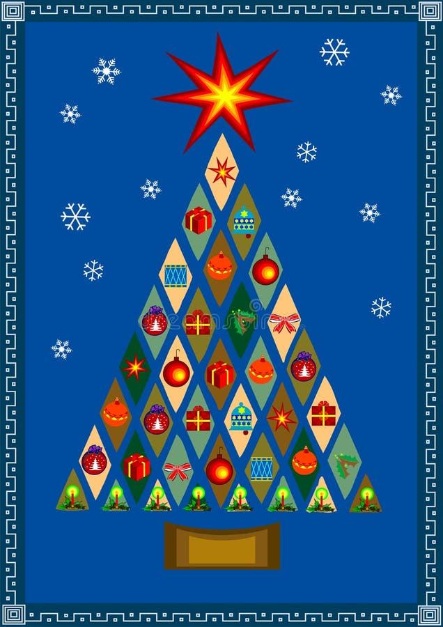 Vector l'albero di Natale stilizzato con i presente illustrazione vettoriale