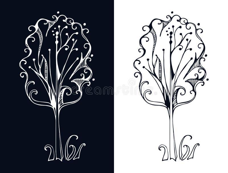 Vector l'albero stilizzato su su fondo nero e bianco royalty illustrazione gratis
