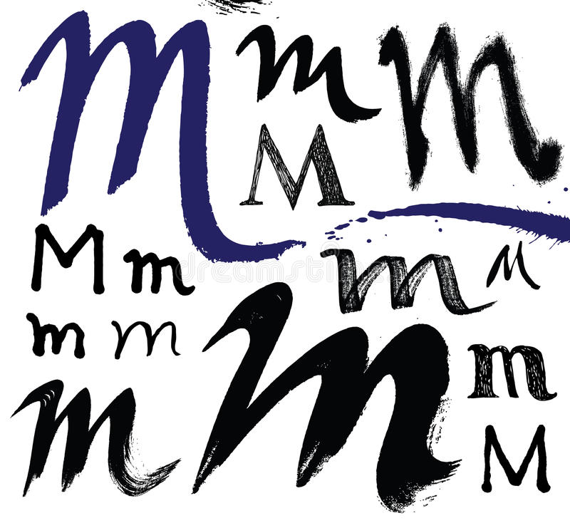 Vector le lettere dell'alfabeto scritto con un brus illustrazione di stock