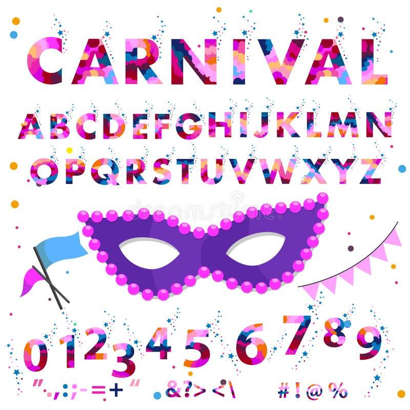 Vector l'alfabeto variopinto dell'autoadesivo dell'alfabeto di carnevale con il numero e più, meno, la divisione, la moltiplicazi royalty illustrazione gratis