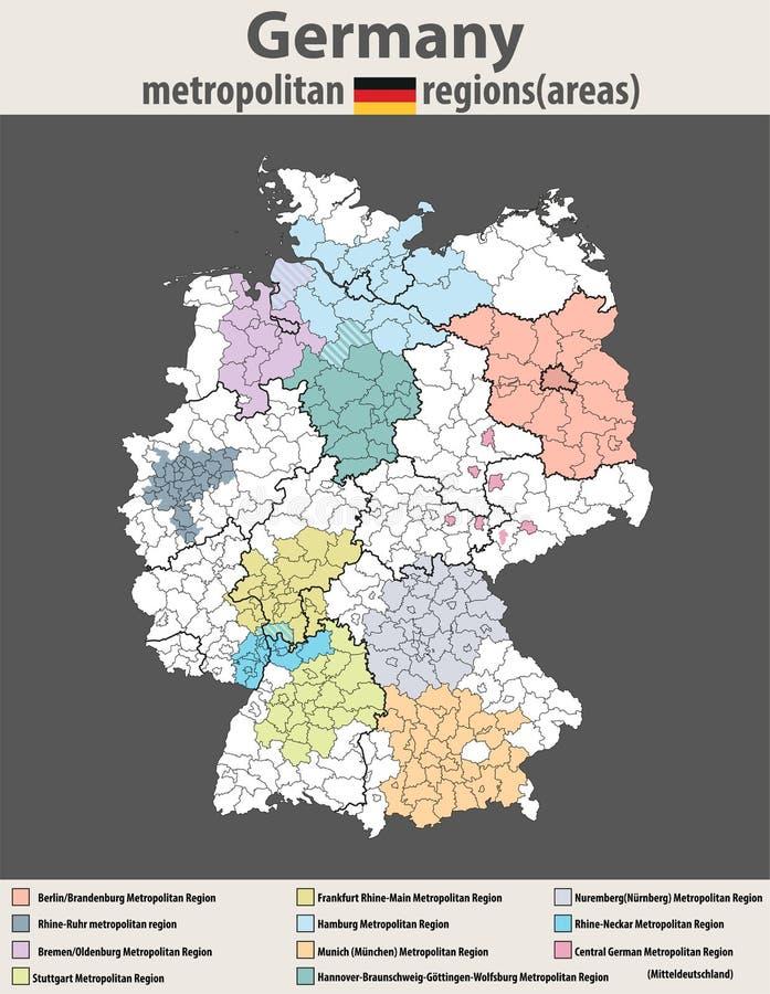 Vector l'alta mappa dettagliata delle aree di regioni metropolitane della Germania illustrazione vettoriale