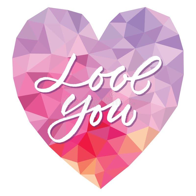 Vector l'amore del modello voi sul fondo del triangolo del cuore royalty illustrazione gratis