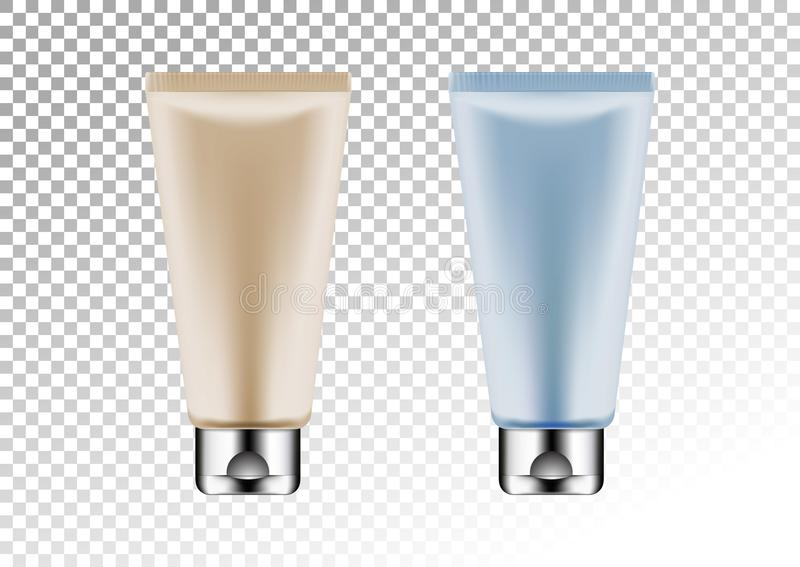 Vector l'argento vuoto ed il pacchetto rosa e blu per il tubo cosmetico dei prodotti per lozione, il gel della doccia, lo sciampo illustrazione vettoriale