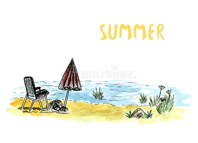 Download Vector L'arte Di Schizzo Con La Poltrona E L'ombrello Della Spiaggia Feste Del Mare O Del Fiume Illustrazione Disegnata A Mano De Illustrazione Vettoriale - Illustrazione di presidenza, retro: 56883882
