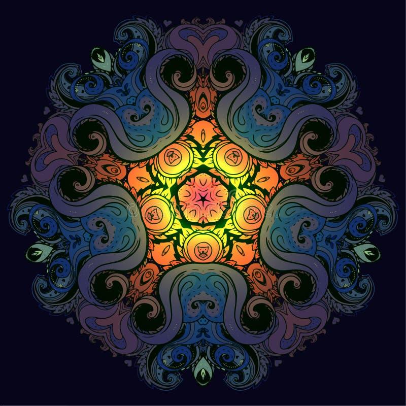 Vector l'arte etnica ispirata mandala ornamentale, indiano modellato illustrazione di stock
