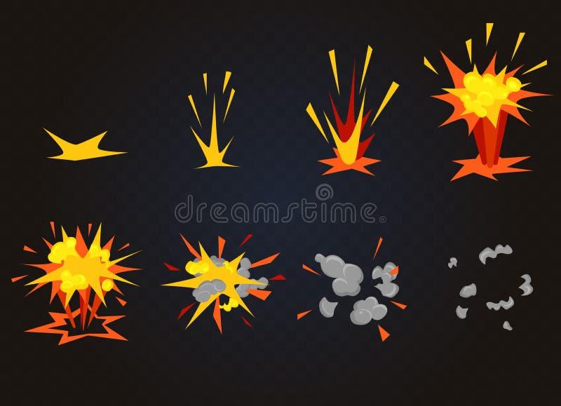 Vector l'effetto anteriore di esplosione dell'asta del fumetto con fumo Il flash esplode l'animazione per il gioco illustrazione vettoriale