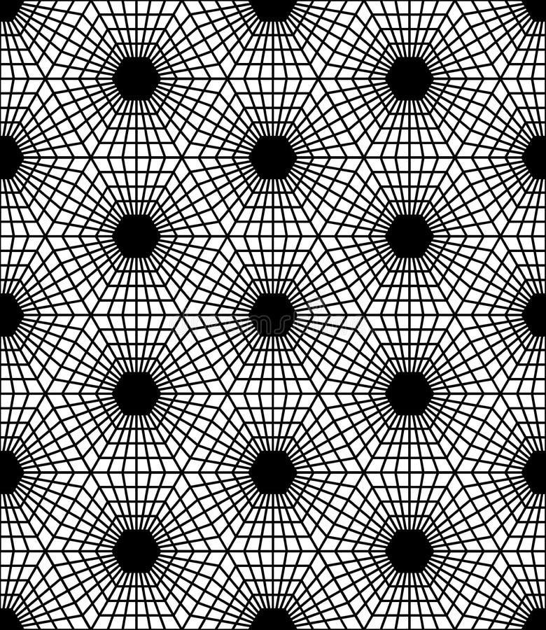 Vector l'esagono sacro senza cuciture moderno del modello della geometria, estratto in bianco e nero royalty illustrazione gratis