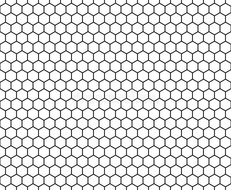 Vector l'esagono senza cuciture moderno del modello della geometria, estratto in bianco e nero del favo immagine stock libera da diritti