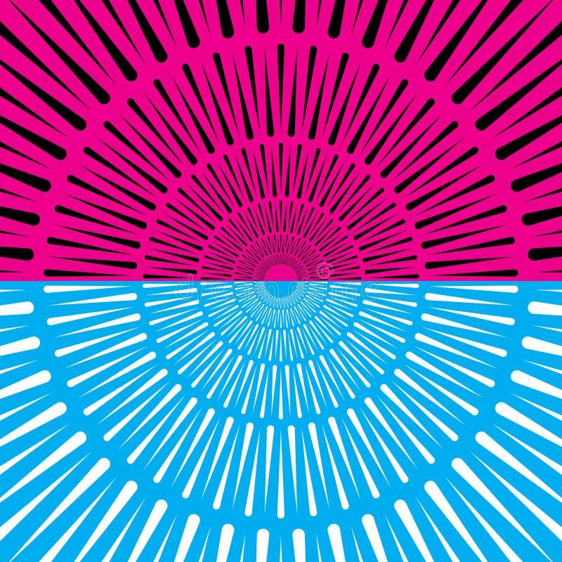 Vector l'estratto blu e rosa radiale del cerchio della gocciolina del fondo di forma illustrazione di stock