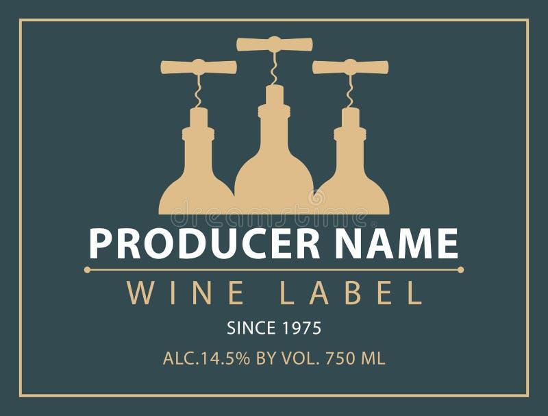 Vector l'etichetta per vino con le bottiglie e le cavaturaccioli royalty illustrazione gratis