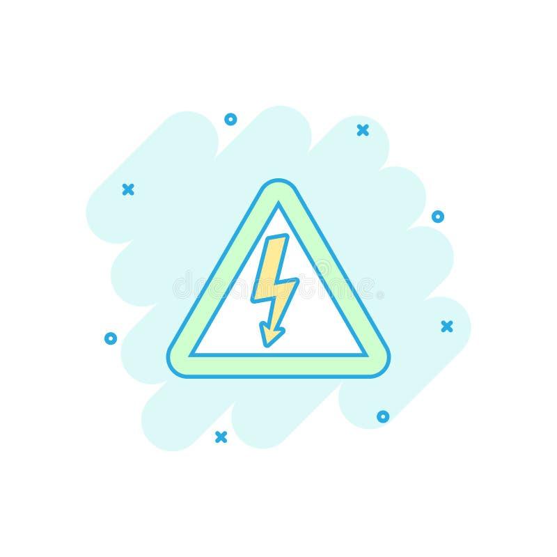 Vector l'icona ad alta tensione del pericolo del fumetto nello stile comico Il pericolo e illustrazione di stock