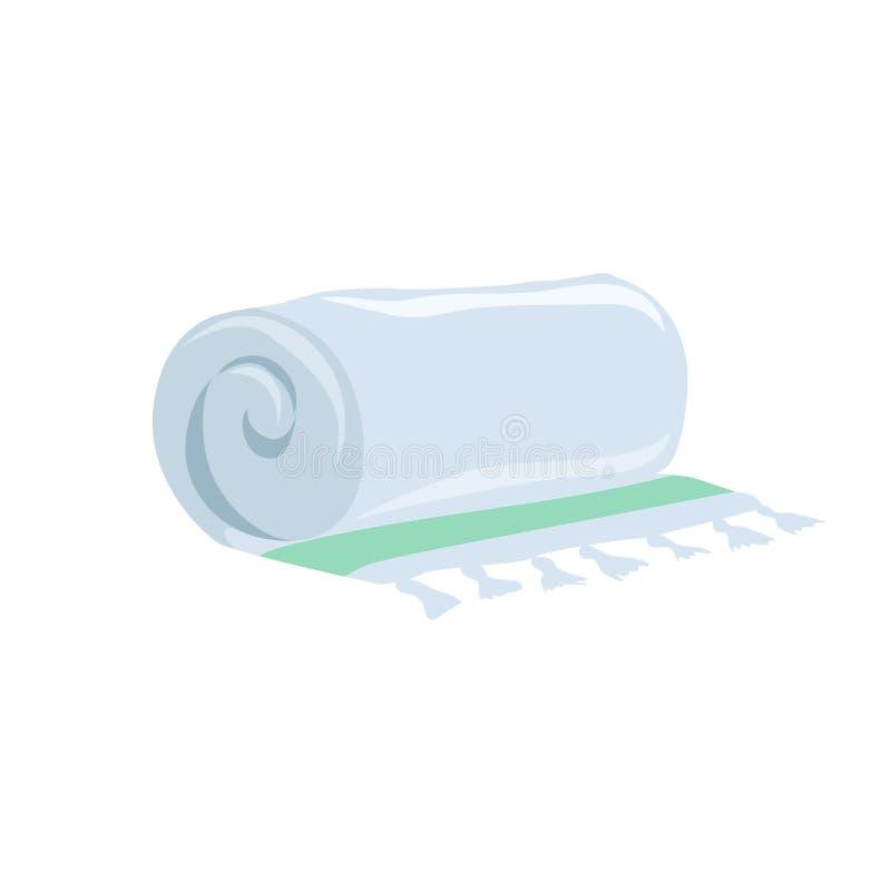 Vector l'icona blu-chiaro di vettore dell'asciugamano di stile piano del fumetto Accessorio stilizzato della stazione termale e d royalty illustrazione gratis