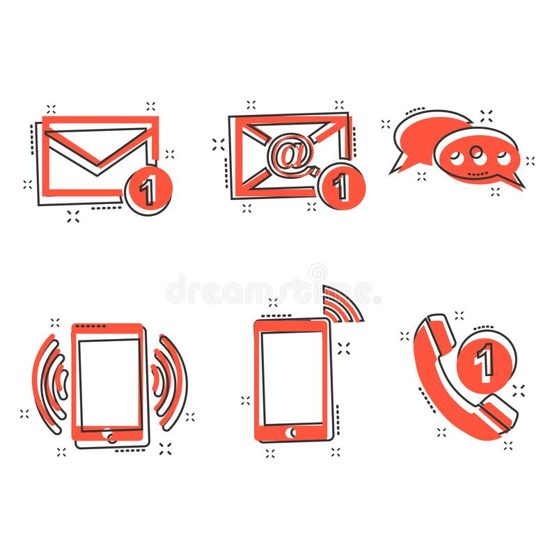 Vector l'icona dei bottoni di contatto del fumetto nello stile comico Email, envel royalty illustrazione gratis