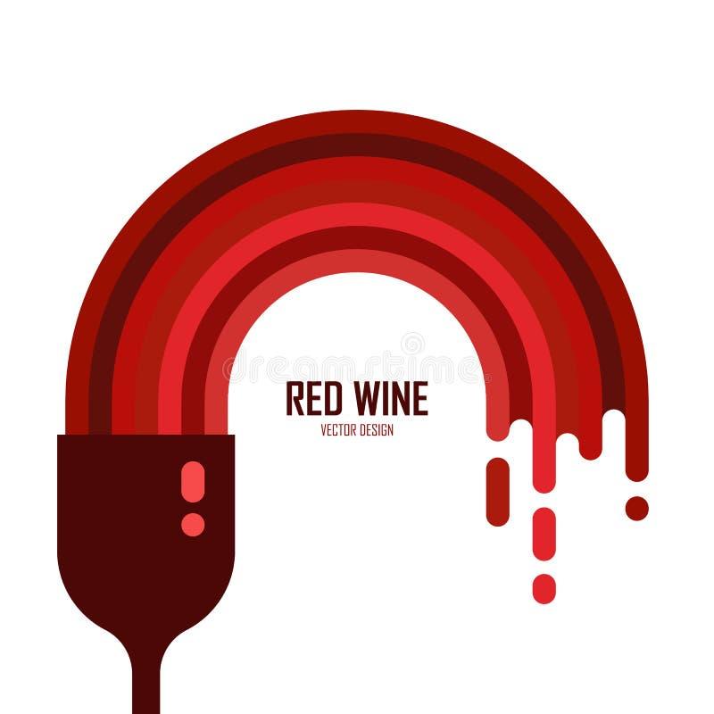 Vector l'icona del vetro di vino con vino rosso isolato illustrazione vettoriale