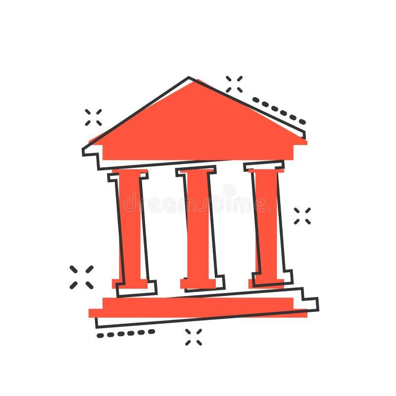 Vector l'icona della costruzione di banca del fumetto nello stile comico Segno IL del museo illustrazione vettoriale