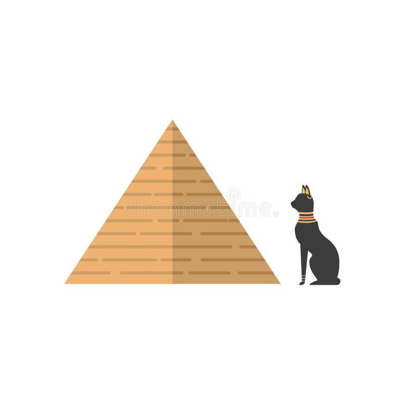 Vector l'icona della piramide piana dell'egitto e del gatto nero illustrazione di stock