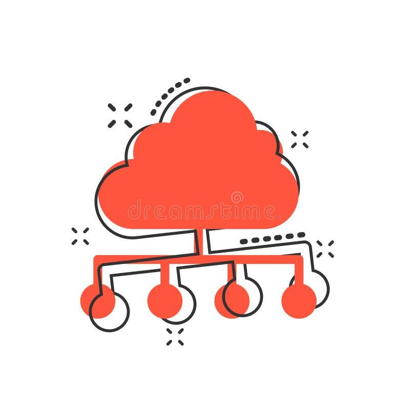 Vector l'icona della tecnologia di computazione della nuvola del fumetto nello stile comico I illustrazione vettoriale